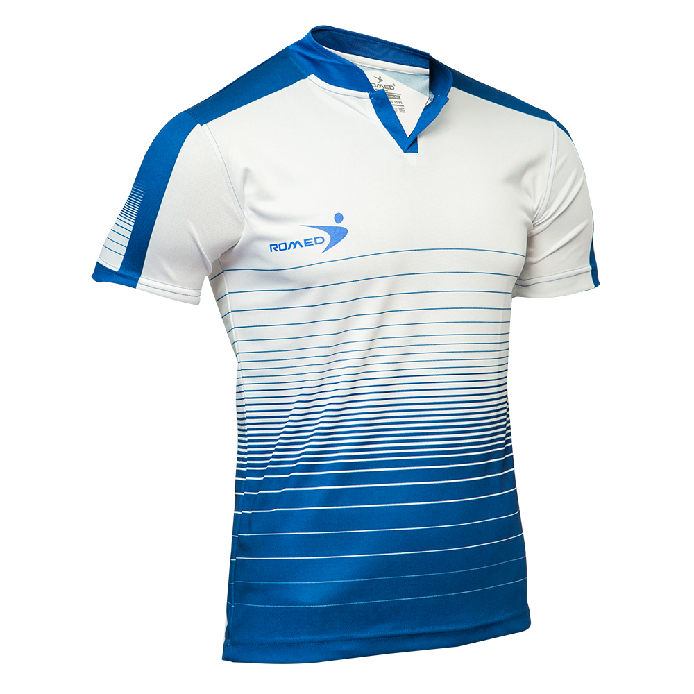 Jersey cuello Mao azul rey con blanco – Romed Sportswear